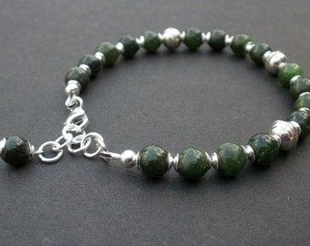 Canada Jade Bracelet 7mm, Nephrite Jade, Dark Green Jade, 925 Bali Silver, Symbol of Serenity Bracelet, Protective Stone