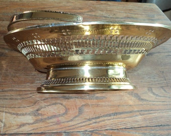 Vintage Solid Brass Oval Shaped Basket Bowl with a Brass handle and great cut out designs in Near Mint Condition