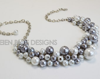 White and Gray Pearl Cluster Necklace, Gray & White Chunky Necklace, Grey Chunky Necklace, Gray Pearl Necklace, Chunky Bridesmaid Necklace