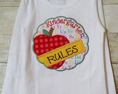 Kindergarten Rules Machine Embroidered Appliqued shirt