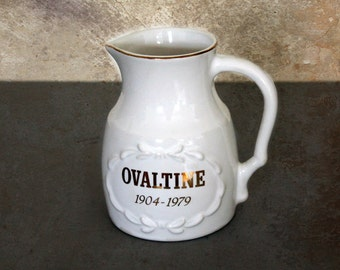 vintage Ovaltine pitcher 75th anniversary 1900-1975, vintage advertising, advertising collectible