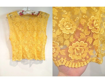 Vintage Golden Yellow Sheer Floral Lace Blouse - S