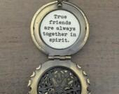Friendship Locket, True friends are always together in spirit, bird flower locket, friendship jewelry, necklace