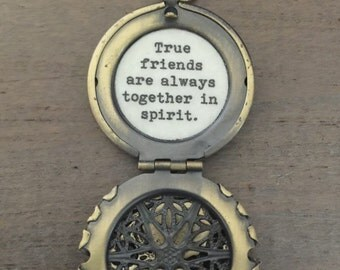 Friendship Locket, True friends are always together in spirit, bird flower locket, friendship jewelry, necklace