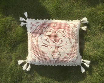 With Angels French vintage Cushion cover, Angels and Pompoms, white Cotton crochet, tassels, Handmade
