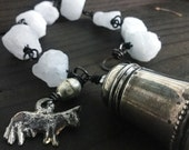 RESERVED FOR ANNE: Hemimorphite crystal braclet with silver salt shaker and Mexican Milgros | raw crystal bracelet, raw stone bracelet