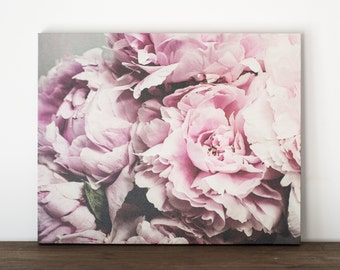 Peony Canvas Art, Peonies Photography Canvas, Floral Wall Art, Pink Flower Bedroom Artwork, Feminine Canvas Wrap, 20x24 Gallery Wrap Canvas