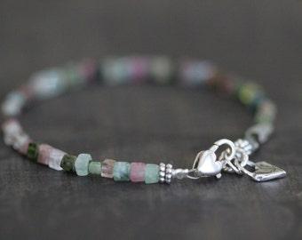 Brazilian Tourmaline Bracelet, Multi Colored, Tourmaline, Layering Bracelet, Stacking Bracelet, Square Cut, Cubes, Heart Charm, Sterling