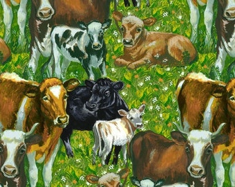 LAST YARD - Blank Quilting - Down on the Farm - Cows