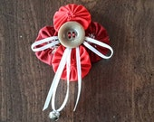 Red Christmas Angel Broach Pin with Snowman Gingerbread Fabric