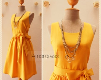 Dress in Mustard Yellow Bridesmaid Dress Yellow Party Dress Summer Dress Sundress Simple Elegant Dress Birthday Dress -Size XS-XL