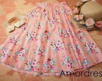 "Pink Floral Skirt - Vintage Skirt - Vintage Floral - Mid Skirt - Midi Skirt - Summer Skirt Beach Garden Skirt - Waist 26""-28"""
