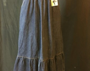 Vintage Denim Ruffle Country Skirt with Pockets Waist 27 K48