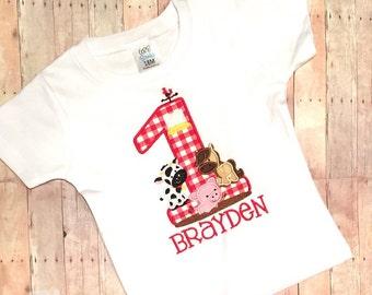 Farm Birthday Personalized Shirt- embroidered, applique, custom, boys, cow, horse, pig, barn