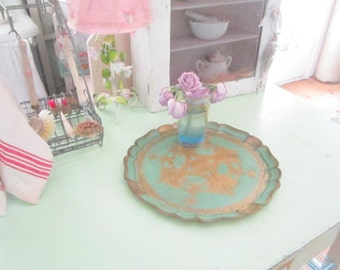 Florentine Vintage gold  and aqua  italian  tray shabby chic prairie cottage Romantic cottage style