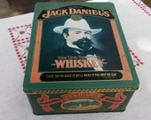 JACK DANIELS TIN  with Two Whiskey Floats on Water Glasses  Tin by Barringer Wallis and Manners  Mansfield England