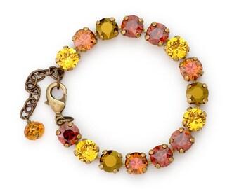Yellow Red Rhinestone Bracelet, Antiqued Brass Nickel Free Bracelet, Hypoallergenic, Austrian Crystal Bracelet, Crystal Jewelry, Duha