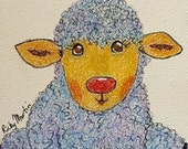 LITTLE LAMB - Child, Toddler, Nursery, CHILDREN,  Original Fine Art Colored Pencil Painting,  5 x 5  inches, by ebsq Artist Ricky Martin
