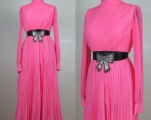 Vintage 1960s Pleated Chiffon Palazzo Pant Suit by Miss Elliette 60s Hot Pink Cocktail Dress Size 6 M