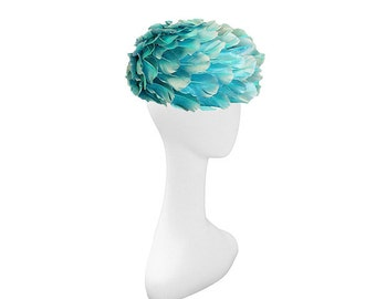 1960s All-Over-Feather Hat by Andre Denis Paris, Turquoise Hat, Aqua Blue Hat, Hat Size 20