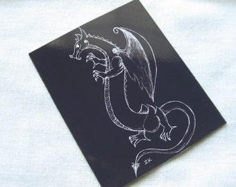 "Black fantasy dragon 2.5"" x 3"" original art magnet"