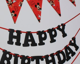 Mickey Mouse Bunting Banner, made from Mickey Mouse fabric, garland pennant flags, Mickey Mouse birthday party bunting
