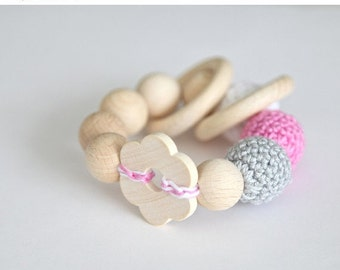 Sale! Big flower toy. Teething wooden rattle with grey, pink and white crochet wooden beads and 2 wooden rings.