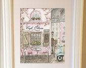 Nursery Wall Art, Paris Decor, Paris Art Print, Vintage French Cafe Personalized Girl's Print For Paris Themed Girl's Bedroom, Shabby Chic