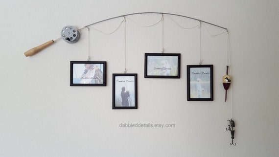 Fishing Pole Picture Frame - Silver or Brown Pole - 4 - 4 in x 6 in Picture Frames - Choose Your Frame Colors