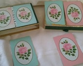 Vintage pinochle cards double deck 'Pink Rose' Congress in box card games