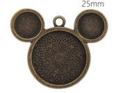 6 Disney Jewelry Mickey Mouse pendants for necklaces  1 inch great birthday craft, photos or art work - Minnie mouse DIY