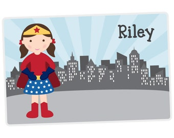 Superhero Girl Placemat - Superhero Personalized Placemat for Girl - Activity Placemat - Laminated Place Mat - Childrens Placemat