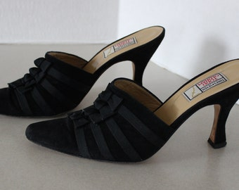 Nice Todd Oldham Black Suede Leather with Ribbons Heeled Slip On's Size 8