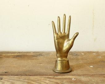 Brass Hand Ring Holder Vintage Jewelry Holder Organizer Paperweight Hand Sculpture