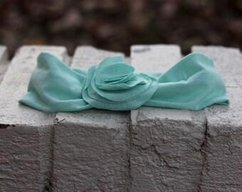 Child Fabric Flowered Stretchy Headband--Light Blue
