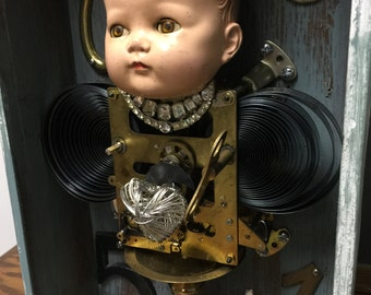 Vintage clock box  assemblage with altered art doll and clock parts