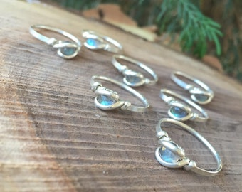 Wire Wrapped Ring - MADE TO ORDER - Labradorite Ring - Sterling Silver Ring  - Stackable Ring - Stacking Ring - Custom Sized Ring