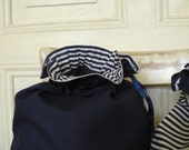 Travel laundry bags, bags for clean and dirty things, navy blue stripes, 40 cm x 32 cm