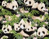Panda Fabric, Panda Fabric, Green Fabric, Bamboo Fabric, Black and White Fabric, 287249