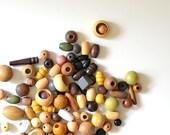 bag of vintage wood beads - fiber & textile art supplies - macrame supplies