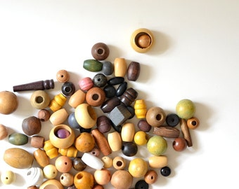 bag of vintage wood beads - fiber & textile art supplies - macrame supplies
