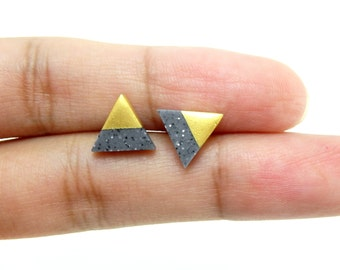 Granite - Gold Dipped Triangle Stud Earrings