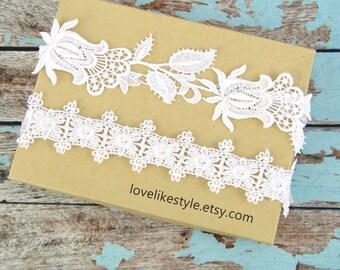 White Lace Wedding Garter Set, White Bridal Wedding Garter Set, White Lace Garter Set, White Wedding Garter, White Prom Garter Belt