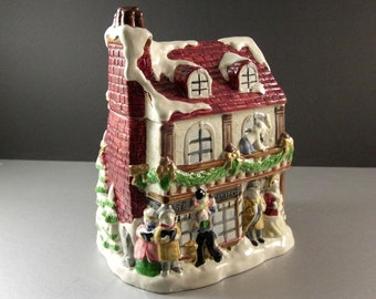 Fitz and Floyd Dickens Christmas Cookie Jar and Lid 1988
