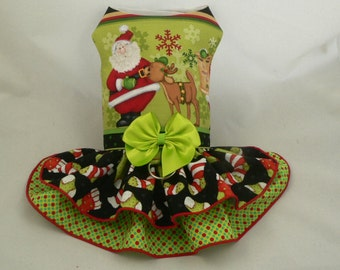 "Girth size 11""-12"".Small dog harness dress. Playtime. Christmas Santa by Poshdog."