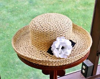Liz Claiborne Rolled Brim Straw Hat with Flower Beachwear Sun Protection Garden Party Resort Wedding