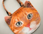 Yellow cat, cat bag, tote bag, shoulder bag, cat purse, pet bag, animal portrait bag, C014