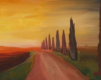 Tuscany Alley Way With Cypress At Dusk - Limited Edition Fine Art Print
