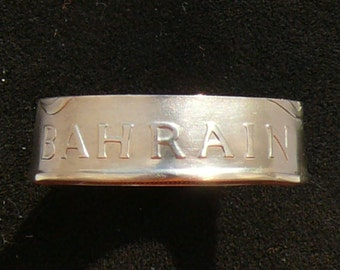 1965 Bahrain 100 Fils Copper/Nickel Coin Ring, Ring Size 9 and Double Sided
