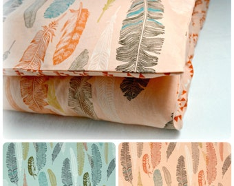 Toddler Duvet Cover, Nursery Bedding, Toddler Bedding  - Made to Order - Feathers